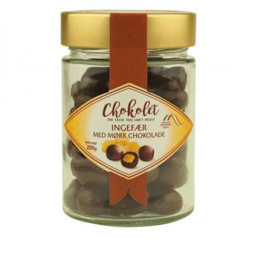 Dragees med ingefær og mørk chokolade