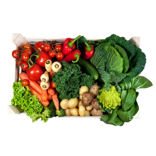 Mellem grøntkurv med kartofler