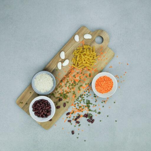 Pasta, ris og bælgfrugter